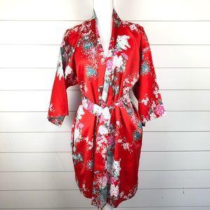 Japanese Tie Front Kimono Robe Red Oriental Print
